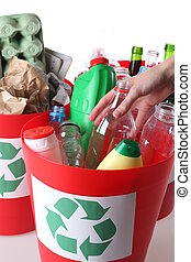 Recycling baskets- plastic, glass and paper segregation, isolated