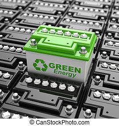 recycling., batterij, auto, energy., groene achtergrond, ...