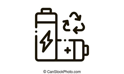 Recycling Battery Icon Animation. black Recycling Battery animated icon on white background