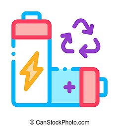 Recycling Battery Icon Vector Outline Illustration