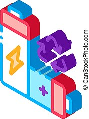 Recycling Battery isometric icon vector illustration