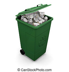 Recycling bin - 3D render of a recycling wheelie bin full of...