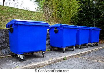 recycling bin - blue bin for recycling paper
