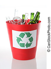 Recycling bin for glass