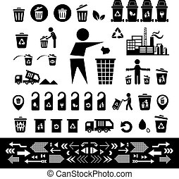 recycling bin icon set