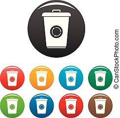 Recycling bin icons set color