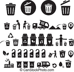 recycling bin icons set