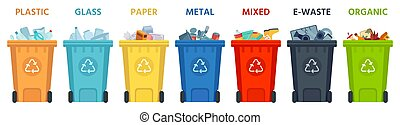 Recycling bins. Containers with separated garbage. Trash cans for plastic, glass, paper and organic. Segregate waste vector illustration