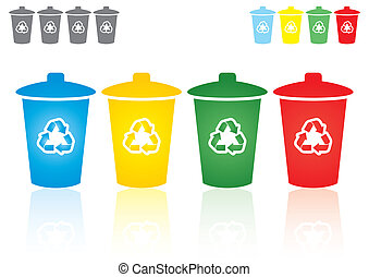 Recycling bins - set of four coloured recycling bins - waste...
