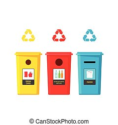 Recycling bins vector illustration isolated on white background