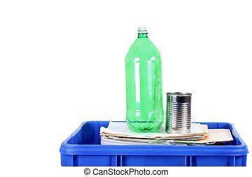 Recycling blue bin