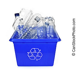 Recycling blue box - Recycling box filled with clear plastic...