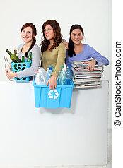 recycling, boeiend, vrouw, jonge, uit