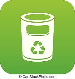 Recycling bucket icon green vector