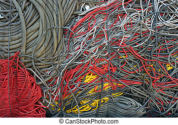 Recycling cables red yellow - A bale of recycling...