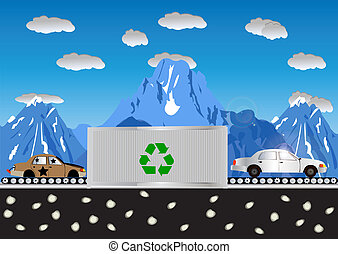 Recycling Cars Process - Abstract vector illustration of a...