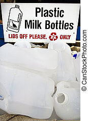 Recycling Center - Milk bottles waste in recycling and...