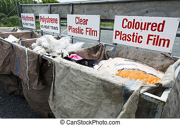 Plastic waste in recycling and disposal center.