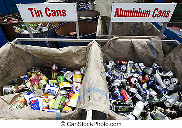 Waste of cans in recycling and disposal center.