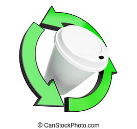 recycling coffee cup on white background. 3d Illustrations