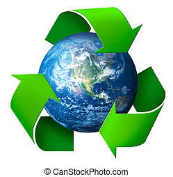 Recycling concept 3d symbol arrows around green planet Earth