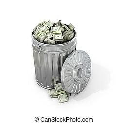 recycling., concept, argent, illustration, arrière-plan., blanc, déchets ménagers, 3d