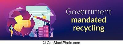 recycling, concept, header., spandoek, mandated, regering