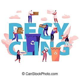 Recycling Concept. People Throw Garbage into Containers with Recycle Sign. City Dwellers Collecting Trash. Pollution, Ecology Protection Poster Banner Flyer Brochure. Cartoon Flat Vector Illustration