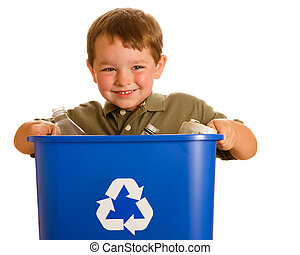 Recycling concept with young child carrying recycling bin ...