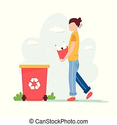 Recycling concept. Young girl with sorted garbage