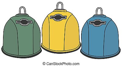 Recycling containers - Hand drawing of three recycling...