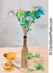 recycling, creatief, plastic