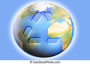 illustration of recycling symbol on the planet earth