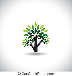 recycling, eco tree hand with leaves, helping nature -...