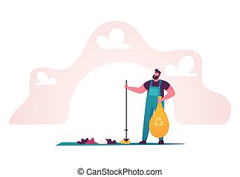 Recycling, Ecology Protection Concept. Man Removing Trash from Ground. Male Character Cleaning Earth Surface. People Saving Planet, World Environment Day, Biodiversity. Cartoon Vector Illustration