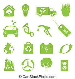 recycling, en, schoonmaken, milieu, pictogram, set