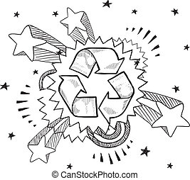 Recycling excitement sketch - Doodle style recycle symbol...