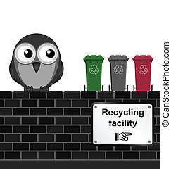 Recycling Facility - Monochrome comical recycling facility ...