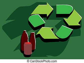 recycling facility. sign in flat color and bottle
