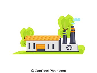 Recycling Factory Building Vector Illustration