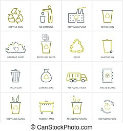 Recycling garbage icons set - Recycling garbage linear icons...