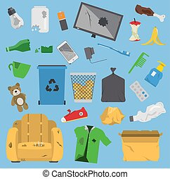 Recycling garbage vector trash elements trash bags tires...