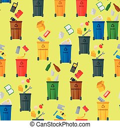 Recycling garbage waste sorting processing seamless pattern background treatment remaking trash utilize icons vector illustration.