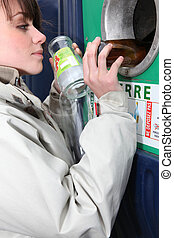 recycling, glas bottelt