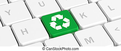 Recycling. Green key button with recycle sign on a computer keyboard, banner. 3d illustration