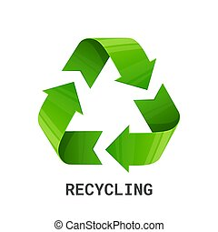 Recycling. Green recycle eco symbol. isolated on white background. Recycled arrows sign. Cycle recycled icon. Recycled materials symbol. Environment protection icon isolated on white background.