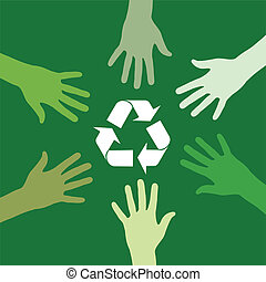 recycling sign been circled by various green hands. Vector file available.