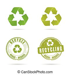 recycling icon in green color set illustration