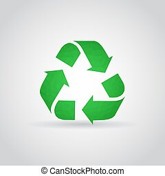 Recycling icon in polygonal style on a gray background
