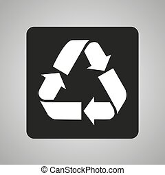 Recycling icon on a black square on a gray background